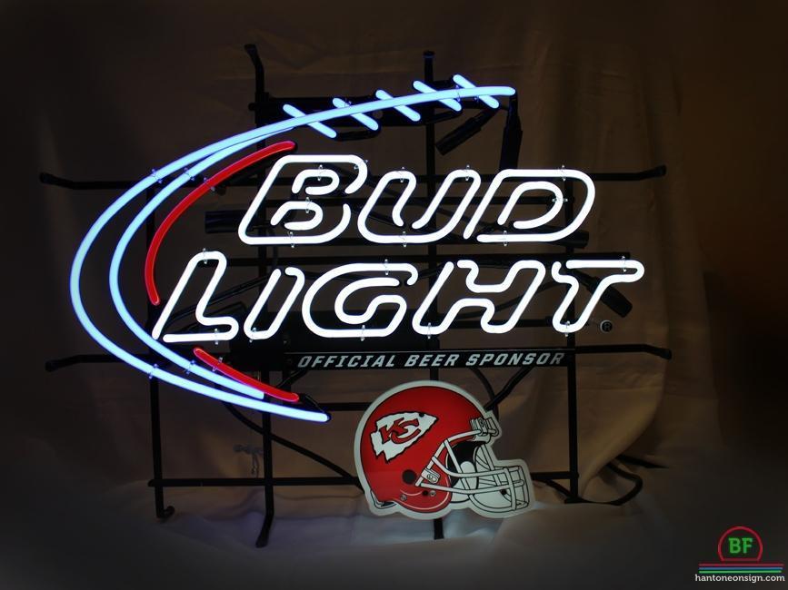 Bud Light Kansas City Chiefs Helmet Neon Sign NFL Teams