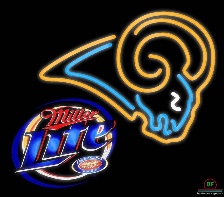 Miller Lite St Louis Rams Neon Sign NFL Teams Neon Light