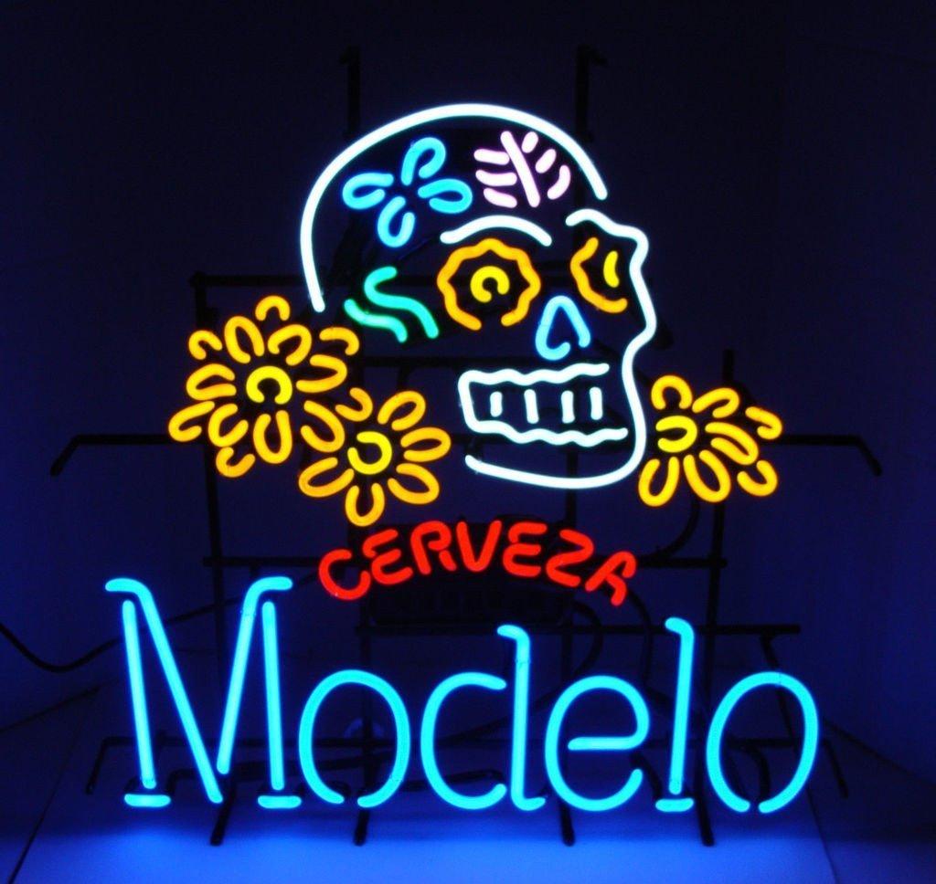 Cerveza Modelo Dia De Los Muertos Skull Neon Sign Real